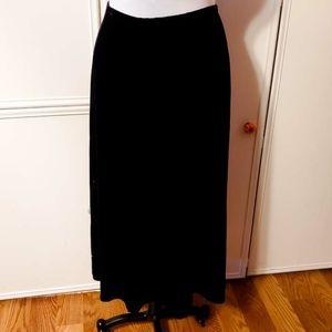 Chicos Plush Black Velvet Maxi Skirt Sz 3